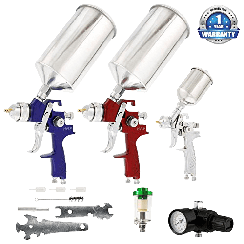 TCP Global Brand HVLP Spray Gun Set - 3 Sprayguns