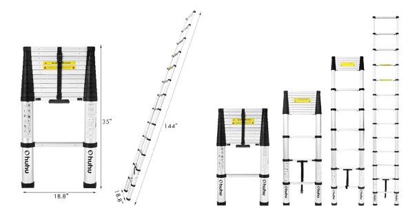 Ohuhu Aluminum Telescopic Extension Ladder