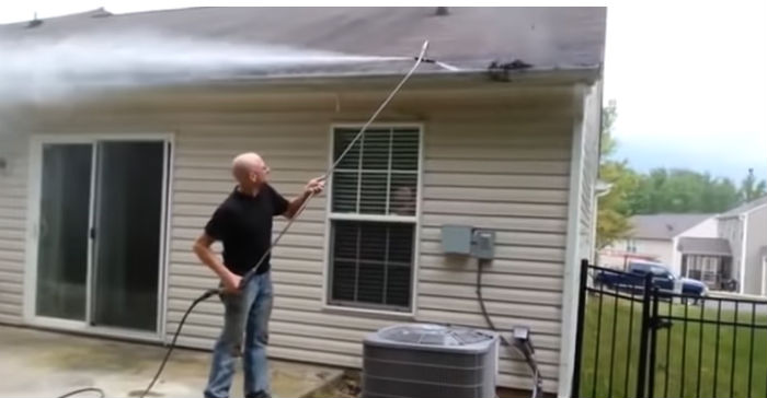 Using pressure washing gutters