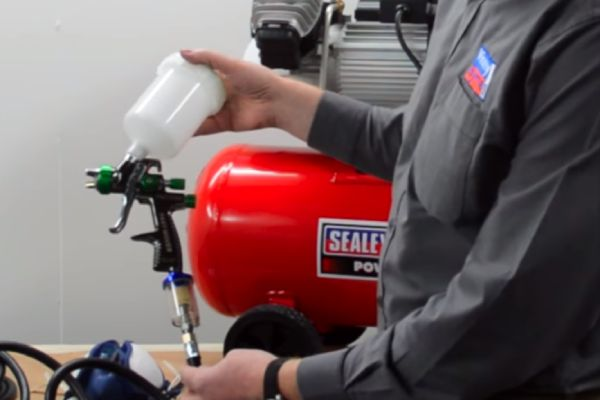 Paint Sprayer With An Air Compressor
