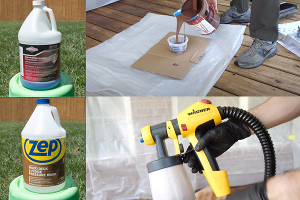 Prepare the tools to spray stain a deck