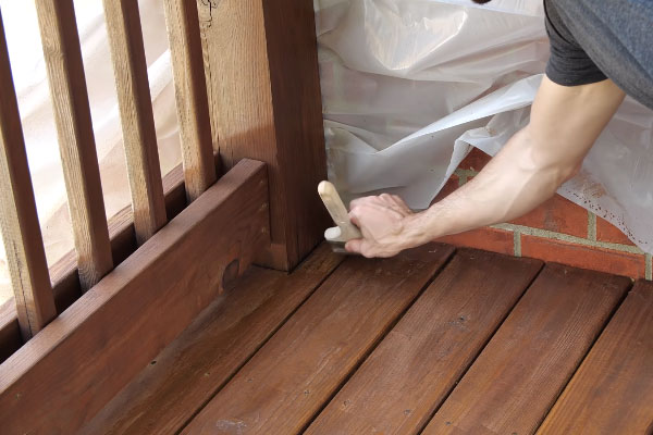 Stain the deck boards