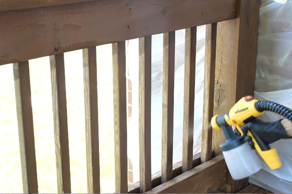Staining the railings
